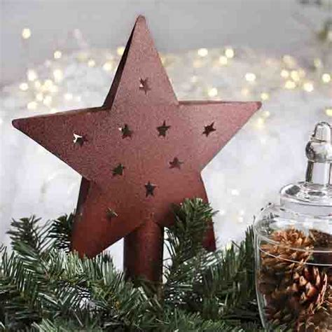 rustic red metal tree topper trees  toppers