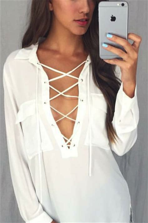 up blouse amanda white lace up blouse top
