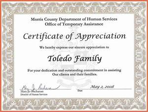 sample certificate of appreciation text