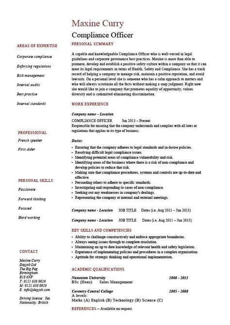 compliance officer resume objective sample