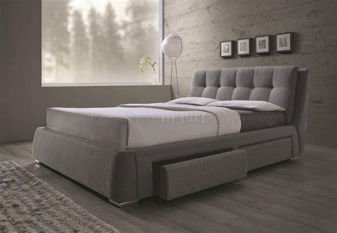 Fabric Storage Bed by Fenbrook 300523 Upholstered Bed In Grey By Coaster W Storage