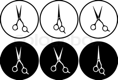set  isolated black  white professional scissors