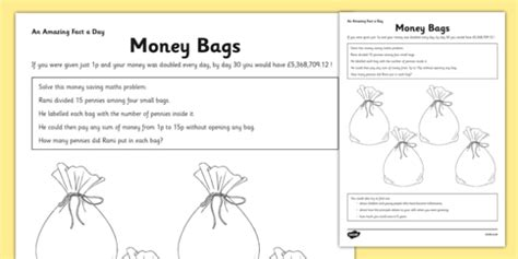 money bags worksheet worksheet money problem solving money bags