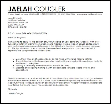 Icu Resume Cover Letter icu cover letter sle livecareer