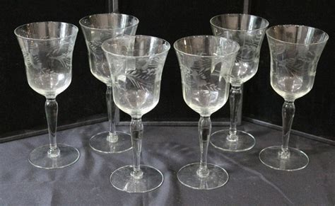 Fine Cut Floral Etched Crystal Glassware Wine Glasses Set