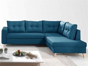 Canapé D Angle Bleu Canard : nordic canap scandinave d 39 angle droite l convertible ~ Nature-et-papiers.com Idées de Décoration