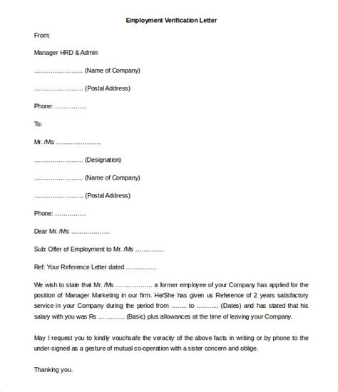 Voe Template by 11 Free Employment Letter Template Doc Pdf Free