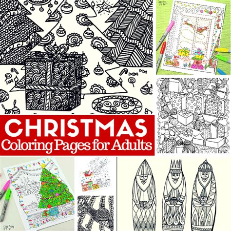 free printable christmas coloring pages for adults easy