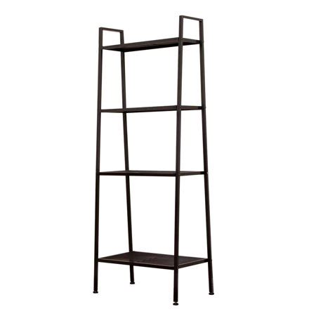 Metal Leaning Bookcase by Zimtown 4 Tier Metal Leaning Ladder Shelf Bookcase