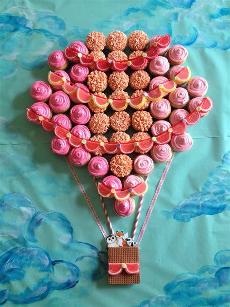 hot air balloon   girl cupcake cake olive