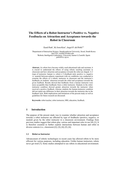 (PDF) The effects of a robot instructor's positive vs