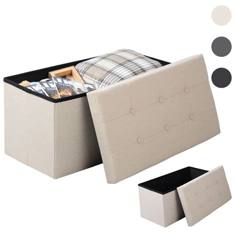 coffre siege rangement tabouret siège pliable pouf cube coffre boîte de rangement crème blanc f210 ebay