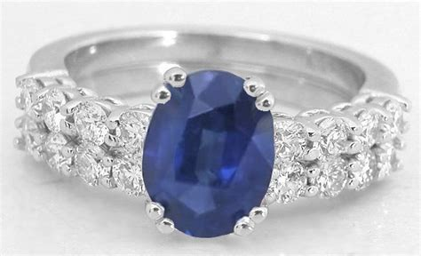 natural blue sapphire  diamond engagement ring