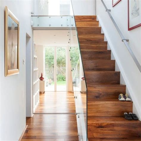 hallway with stairs decorating ideas white hallway with walnut and glass staircase runners glasses and search