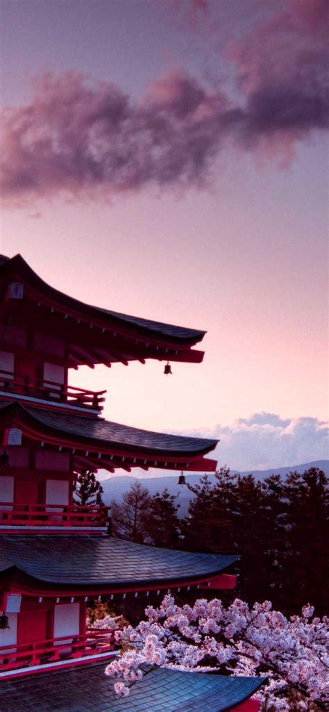 churei tower mount fuji in japan k iphone pro ma wallpaper