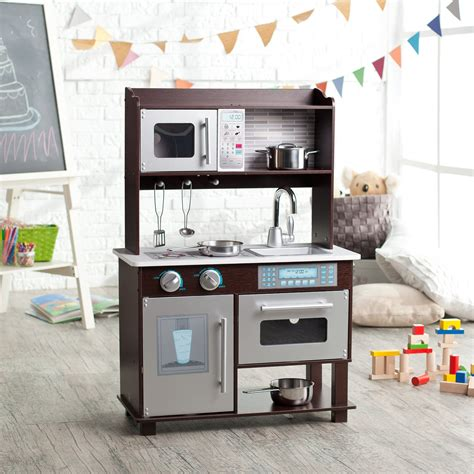 play kitchen sets kidkraft espresso toddler play kitchen with metal