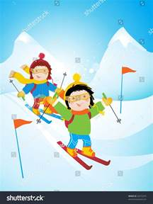 Ski Mountain Cartoon Funny Pic