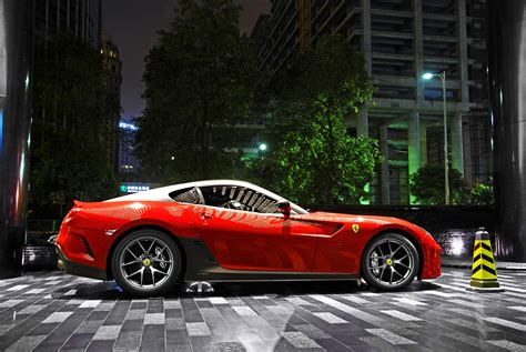 City, Night, Building, Red, Sports Car