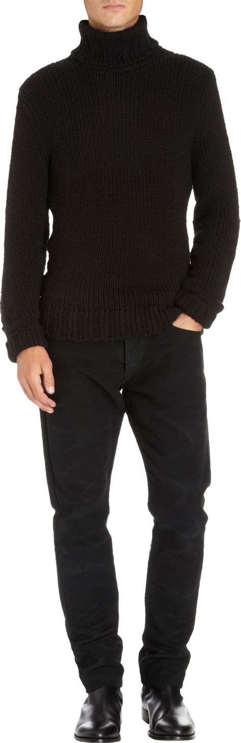 mens chunky knit sweater ralph black label denim chunky knit turtleneck