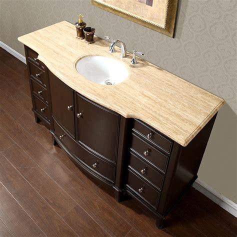 gorgeous bathroom travertine top single sink vanity