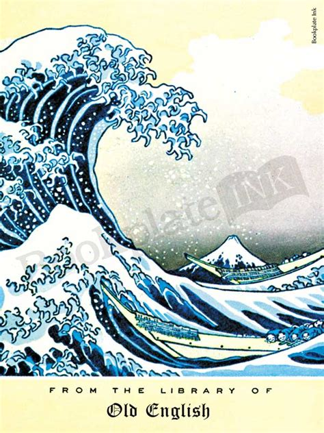 japanese  great wave  kanagawa bookplate