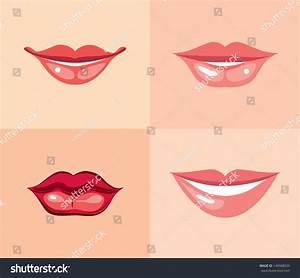 Set Beautiful Female Lips Different Makeup Stock Vector ...