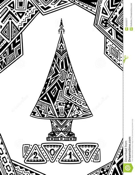 christmas tree  zen doodle style black  white stock