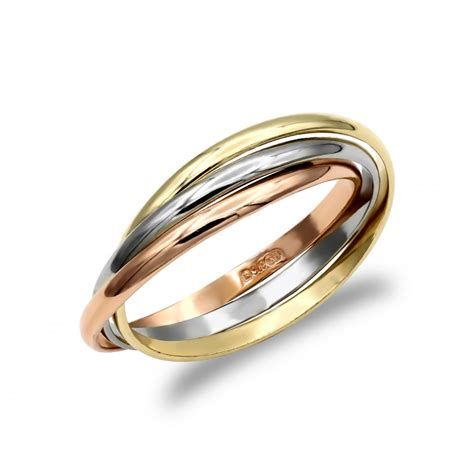 solid 9ct yellow white and rose gold interlocked