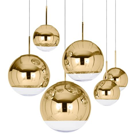 tom dixon mirror gold 40cm pendant light houseology