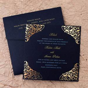 Gulshan blue wedding islamic cards add a touch of for Images of wedding cards in muslim