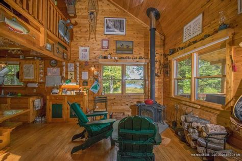 North Maine Woods Log Cabin On 429 Acres For Sale