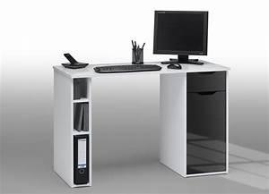 Bureau Informatique Design : bureau informatique design laqu blanc noir lisandra ~ Teatrodelosmanantiales.com Idées de Décoration