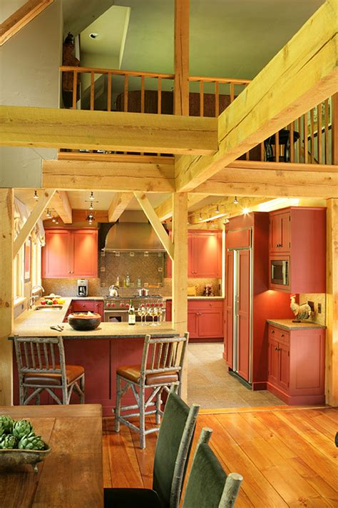 vermont country kitchen  post  beam home designs