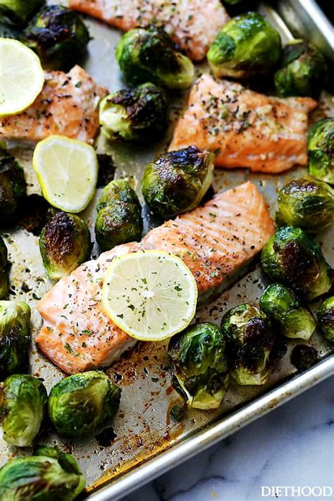 salmon sprouts pan sheet brussels brussel roasted garlic recipes recipe sprout dinner baked healthy dinners diethood pot fish easy meals