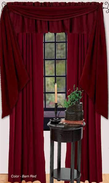 farm house solid barn red lined curtain valance