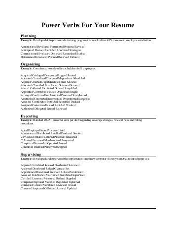 resume headings and verbs