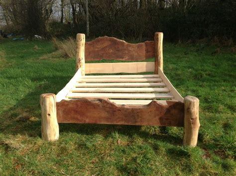 handmade wooden bed  london plane  driftwood legs