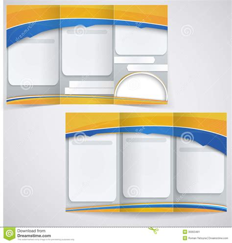 3 Fold Brochure Design Templates by Vector Blue Brochure Layout Design With Yellow Ele Stock