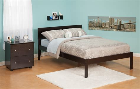 Furniture. Wooden Walnut Flat Full Size Platform Bed Frame