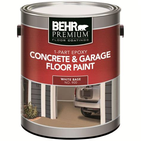 garage floor paint home depot behr 1 part epoxy acrylic concrete garage floor paint white 3 61l the home depot canada