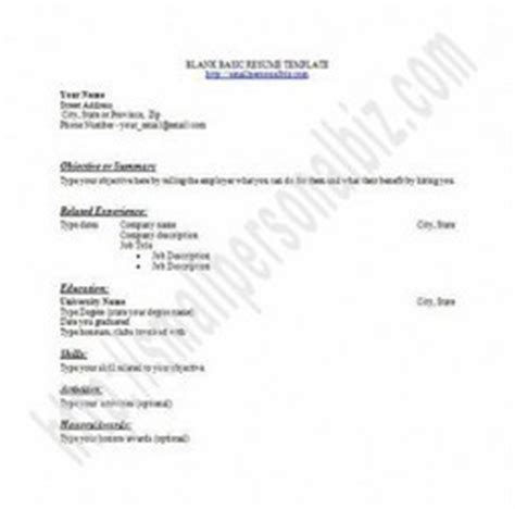 free basic resume template with outline blank f