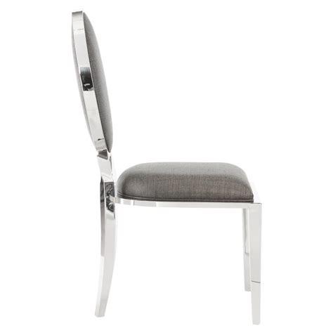 ollie modern polished steel tweed grey side chair kathy