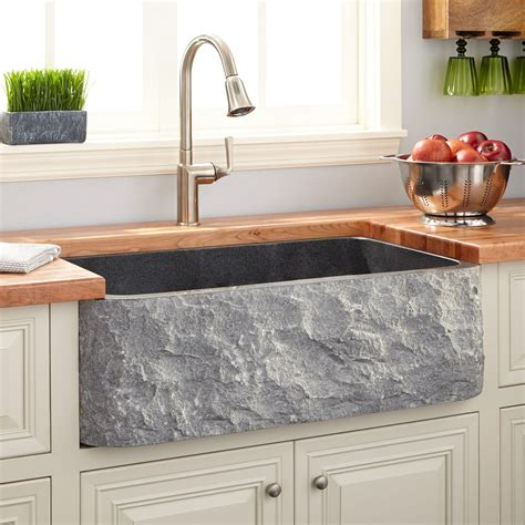 Kitchen Backslash Ideas - 33 quot polished granite farmhouse sink chiseled apron blue gray kitchen