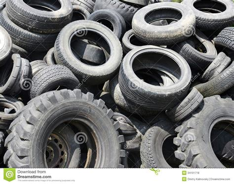 Used Car Tyres Garbage For Recycling Royalty Free Stock