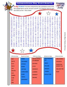 Independence Day / 4th of July Word Search Puzzle for fun ...