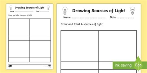 sources of light worksheet worksheet light sources of
