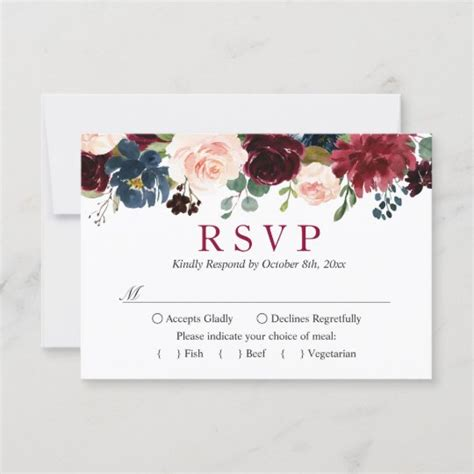 Burgundy Bloom Blush Blue Floral Wedding RSVP Zazzle com au