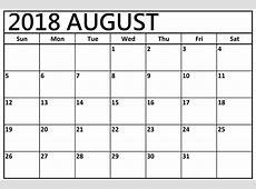August 2018 Editable Calendar Template {Download} Public