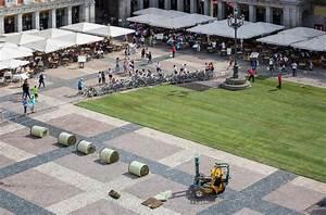 A madrid plaza transformed into a temporary park with over for A madrid plaza transformed into a temporary park