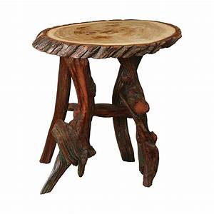 Rustic Log Oval End Table King Dinettes Custom Dining